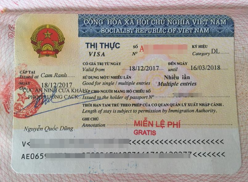 Образец заполнения анкеты на визу во Вьетнам